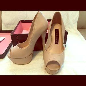 Peep Toe Leather Platform Heels